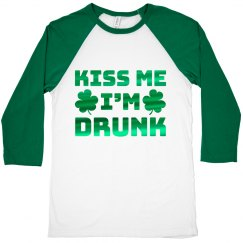 Green Metallic Kiss Me I'm Drunk