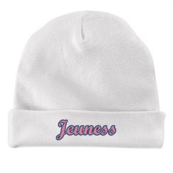 Jeuness White Infant Hat w/ Blue Outline