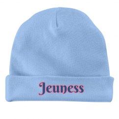 Blue Infant Hat w/ Pink Outline