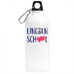 Water Bottle Lincoln School Hearts