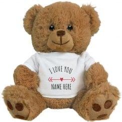 I Love You Custom Name Valentine's Day Bear