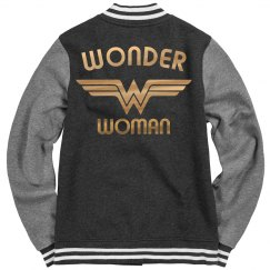 Gold Metallic Wonder Woman Varsity Jacket
