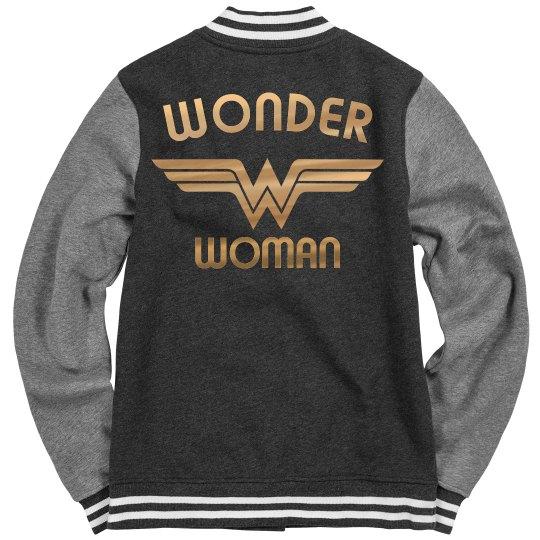 d58b346e329 Gold Metallic Wonder Woman Varsity Jacket Ladies Fleece Letterman Varsity  Jacket