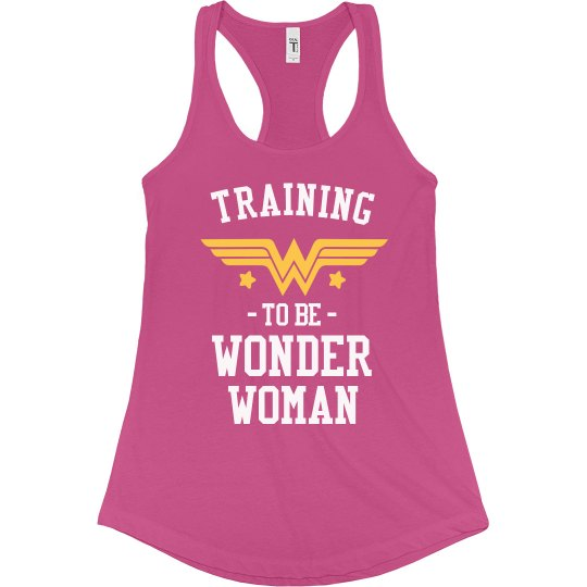 2c126fd8956736 Wonder Woman Workout Racerback Ladies Slim Fit Racerback Tank Top