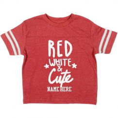 Custom Name Red White Cute Toddler