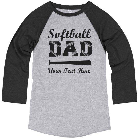 1d928d38b Custom Softball Dad Laces Unisex Vintage 3/4 Sleeve Raglan T-Shirt