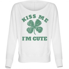Kiss My I'm Cute Distressed Shamrock
