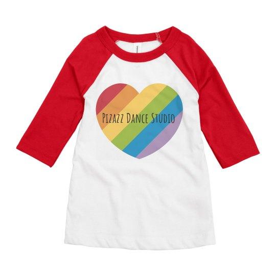 3/4 rainbow heart youth