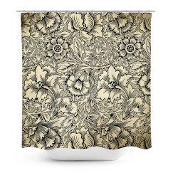 Black & White flower shower curtain
