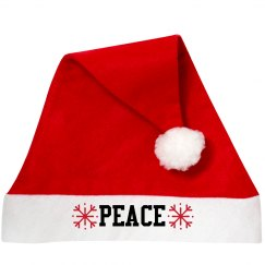 Peace Santa Hat With Snowflakes