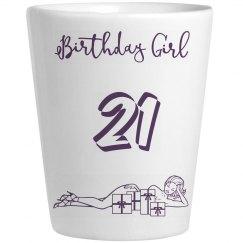 21 Birthday Girl Shot Glass
