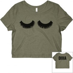 Eyelashes Diva Crop Tee