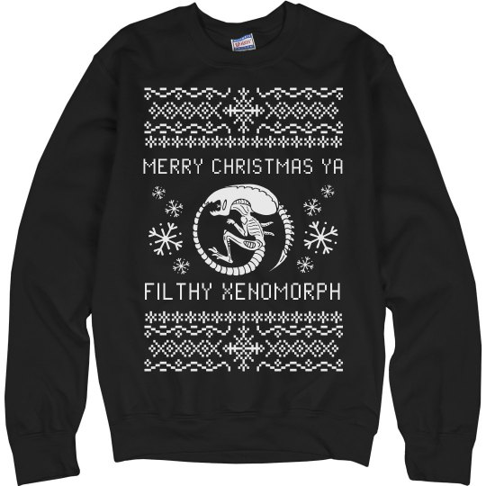 cf3486051 Merry Christmas Ya Filthy Xenomorph Unisex Ultimate Cotton Crewneck  Sweatshirt