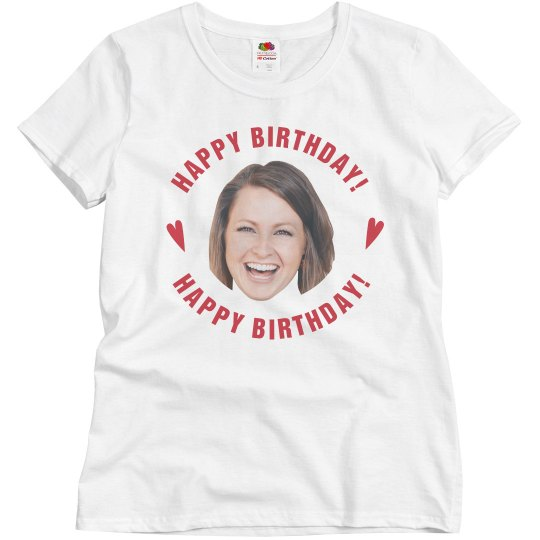 Cut Out Face Womens Birthday Tee Ladies Relaxed Fit Basic Promo T Shirt