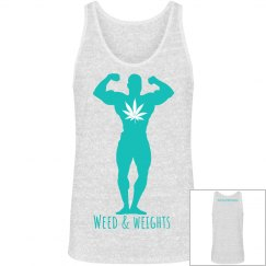 Weed & weights men's tank - white blend