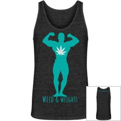 Weed & weights men's tank charcoal