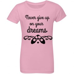 Never Give Up children's ruffle top
