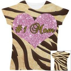 #1 Mom Pink Heart Brown & Gold Animal Print