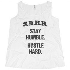 SHHH! STAY HUMBLE HUSTLE HARD GREY TEXT PLUS SIZE TANK