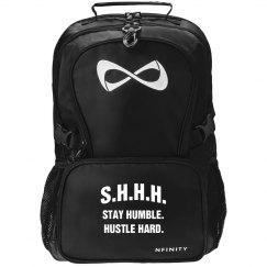SHHH! STAY HUMBLE HUSTLE HARD WHITE TEXT NFINITY BAG
