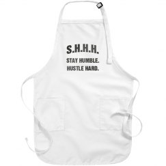 SHHH! STAY HUMBLE HUSTLE HARD GREY TEXT APRON