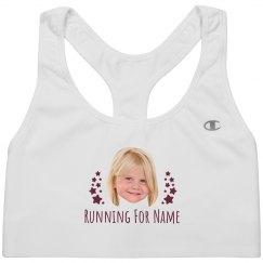 Running For Name Custom Photo Bra