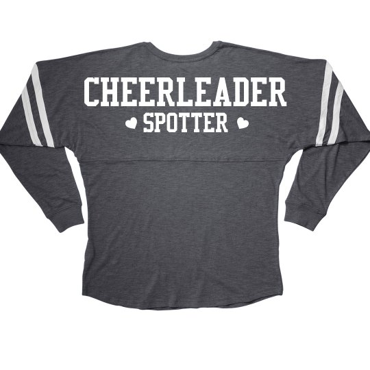 7080568e Cheerleader Spotter Cheer Girl Squad Long Sleeve Slub Ladies Slub V-Neck  Game Day Jersey