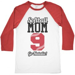 Cute Softball Mom With Custom Name Number