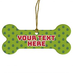 Custom Text Pet Paw Ornament