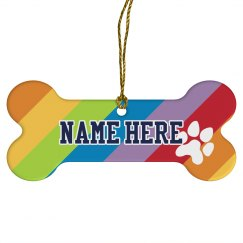 Rainbow Custom Name Bone Ornament