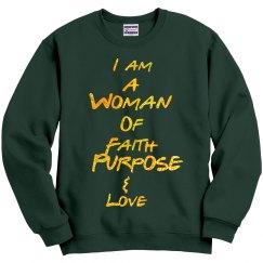 Woman Of Faith Green Sweatshirt with Glitter