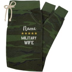 Custom Name Military Wife Camp Sweats