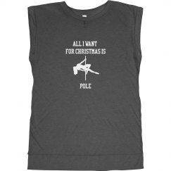 ALL I WANT FOR CHRISTMAS IS POLE (DARK GREY HEATHER)