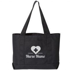 Custom Nurse Name Heart Tote Bag