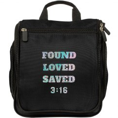 FOUND LOVED SAVED 3:16 Silver Glitter Text