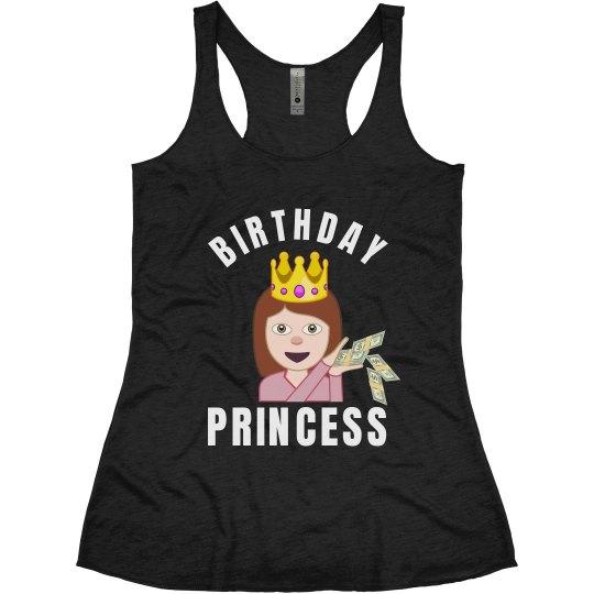 Birthday Emoji Princess Ladies Slim Fit Super Soft Racerback Triblend Tank Top
