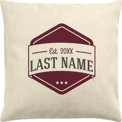 Couples Last Name Est. Date Pillow