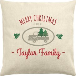 Merry Christmas Custom Name Pillow Case