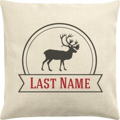 Reindeer Last Name Custom Family Pillow