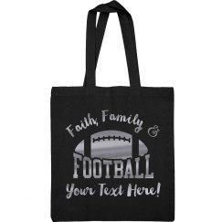 Custom Metallic Silver Football Mom