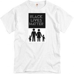 White tee w/black family graphic