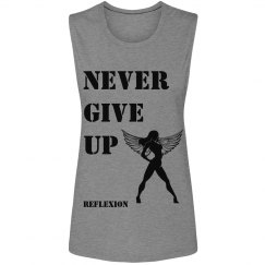 NEVER GIVE UP FLOWY TANK