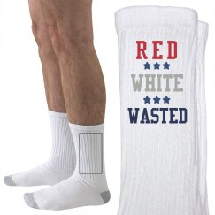 Red White and Wasted 4th Socks