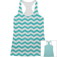 Blue Chevron Tank Top All Over Print