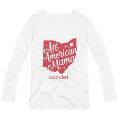 Custom Maternity All American Ohio Mama Long-Sleeve Tee