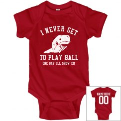 Funny T-Rex Dinosaur Baseball Baby Onesie