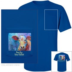 Steer On Blue pocket t-shirt