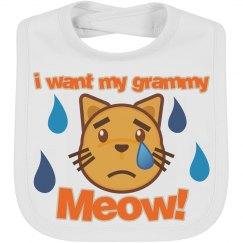 I want Grammy meow emoji bib
