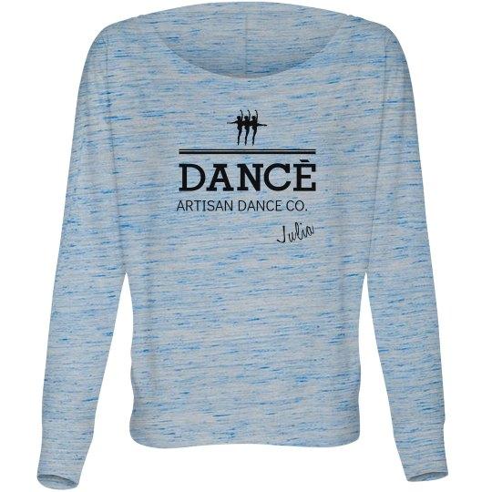 726ce5c70 Dance Company Logo Ladies Flowy Long Sleeve Off The Shoulder T-Shirt