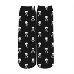Skull Print Pattern Crew Socks